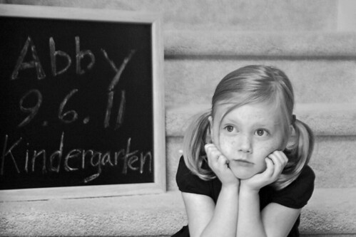 216 Abby first day of kindergarten b&w