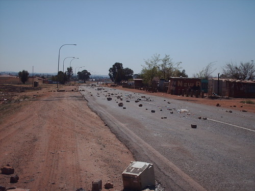 One of the barricaded streets of Thembelihle