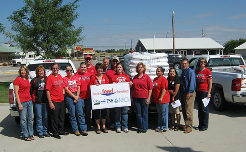 Pictured are the group of employees who participated in the 'Feds Feed Families' food drive. Noting second from left is County Executive Director Barb Cross, Farm Services Agency.  Third from left is Executive Director John Berge, National Food and Ag Council.  Pictured  second row at left is NRCS District Conservationist Dallas Johannsen and NRCS Major Land Resource Area Soil Survey Office Leader Tim White, middle.  Pictured far right is Area Director Brenda Darnell, USDA Rural Development.