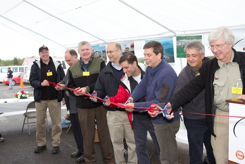 L-R: Patrick Goodyear, Senior Project Manager for TERRA-SW; T.W. Patch, Commissioner, Regulatory Commission of Alaska; Lt. Governor of Alaska, Mead Treadwell; RUS Administrator Jonathan Adelstein; FCC Chairman Julius Genachowski; U.S. Senator Mark Begich; USDA-RD Alaska State Director Jim Nordlund and Ron Duncan, President and CEO of GCI