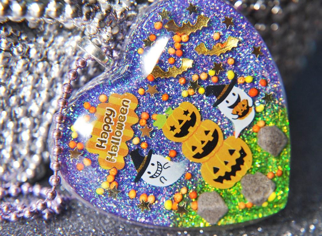 Happy Halloween Spooktacular Resin Glitter Heart Necklace
