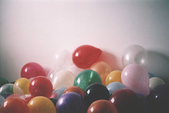 (des.i.ree) Tags: portrait film 35mm balloons fun rainbow whimsy colorful olympus om10 float agfa expired 160 lotslots