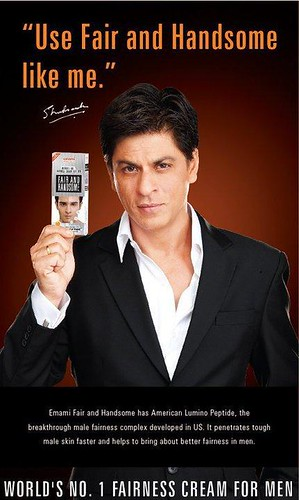 Bollywood superstar Shahrukh Khan promotoes Fair and Handsome skin lightening cream