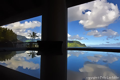 Tropical Reflections (philipleemiller) Tags: windows seascape clouds reflections landscape hawaii palmtree kauai balihai glasstable pacificislands hanaleibay reflectivesurface palikekua mtmakana