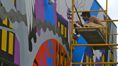 Mural being painted at the Citybikes Workers' Cooporative in Portland, Oregon.