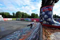 Atop (MrHRdg) Tags: freeassociation reading graffiti pirate wellies caversham skateboardpark hillsmeadow