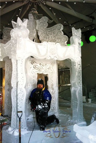 Carrousell at The Carnaval De Quebec ice sculpture
