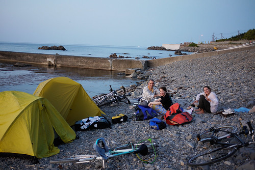 Camping on coast near Bikuni on the Shakotan Peninsula, Hokkaido, Japan