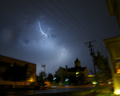 town hall (davedehetre) Tags: sky storm weather night town hall lawrence kansas strike thunderstorm lightning f28 14mm samyang