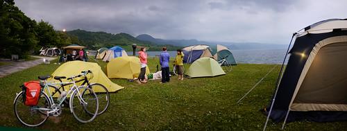 Camping at Lake Toya, Hokkaido, Japan
