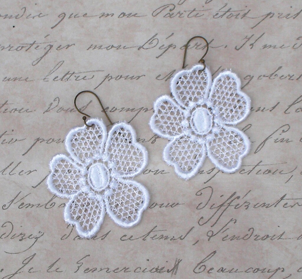 You Choose Color - Lace Flower Applique Dangle Earrings
