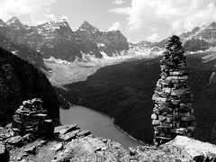 Moraine Lake from Babel (Alexander J...) Tags: travel white mountain lake canada black tower beauty rock canon landscape rockies rocks lakes powershot glacier alpine alberta valley ten peaks moraine babel s90 glacial