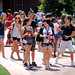 Students move across campus as they stop at different tables for the Campus Crawl.