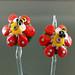 Earring Pair : Bee Orange Flower Blossom