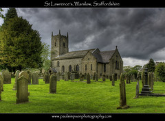 St Lawrence's, Warslow (Paul Simpson Photography) Tags: uk trees england church graveyard grass christ religion jesus headstones churchtower graves stlawrence staffordshire hdr darksky darkskies churchclock churchwindows rainshower religiousbuilding warslow churchphotos photosofchurches paulsimpsonphotography