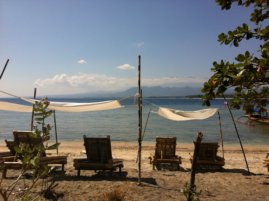Shaded loungers, Gili Air, Lombok, Indonesia