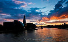 Orange over the Thames (Olly Plumstead) Tags: city sunset sky orange london yellow clouds canon reflections landscape evening hall cityscape sigma ripples olly 1020mm shard plumstead 450d