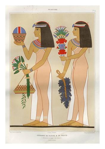 009-Ofrenda de flores y frutos-Tebas dinastia XIX-Histoire de l'art égyptien 1878- Achille Constant Théodore Émile