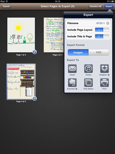 Noteshelf im Einsatz: Export mit Email, iTunes, Dropbox, Evernote, iPad Album und Print