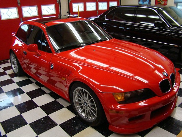 1999 Z3 Coupe | Hellrot Red | Walnut | OEM Hatch Spoiler | Rieger Tuning front spoiler