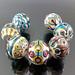 Pikalda : Handmade lampwork glass beads SRA =White Temari=