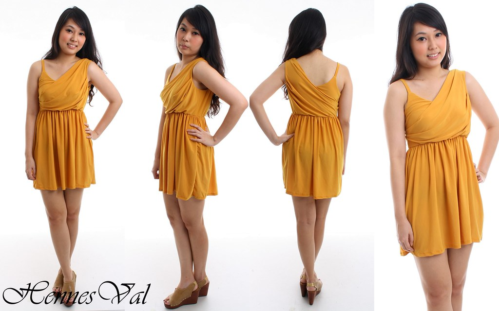 Sunflower Crossover Grecian Dress