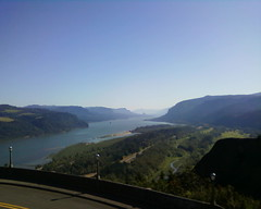 Looking east into the Columbia Gorge, in cellphonorama