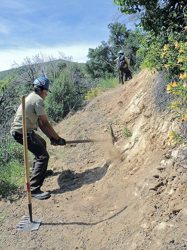 A California Conservation Corps member works on a wilderness trail on Los Padres' Santa Lucia Ranger District.A California Conservation Corps member works on a wilderness trail on Los Padres' Santa Lucia Ranger District.