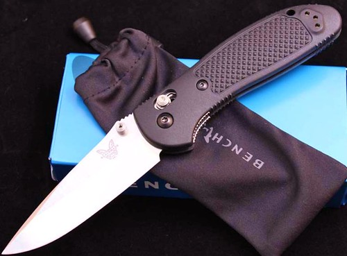 "Benchmade Griptilian 3.45"" Satin Drop Point Plain Blade, Black Handles"