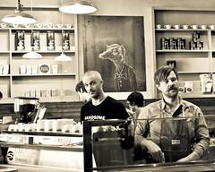 Handsome Coffee Roasters at CoffeeBar, Downtown Los Angeles (r.e. ~) Tags: california coffee café postre de photography tokyo la los downtown photographer shot little angeles tea comida centro handsome desserts bakery espresso latte cappuccino coffeebar syphon demitasse marzocco baristas roasters lamill eyenosh dulcé pastroes