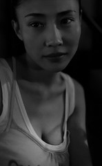 Ren Xiaofei 4 (Jonathan Kos-Read) Tags: china portrait blackandwhite bw face bar dark chinese beijing tanktop romantic nightlife   prettyeyes intimate monalisasmile beautifuleyes brighteyes  goldenratio femaleportrait asiannight 50mmf14d urbannight  chinesegirl  blackandwhiteportrait  chinesenight nikon50mmf14d  explored beijingnight  chineseportrait hotasiangirl beautifulchinesegirl hotchinesegirl strongeyebrows asianface beautifulasiangirl asianportrait chineseface