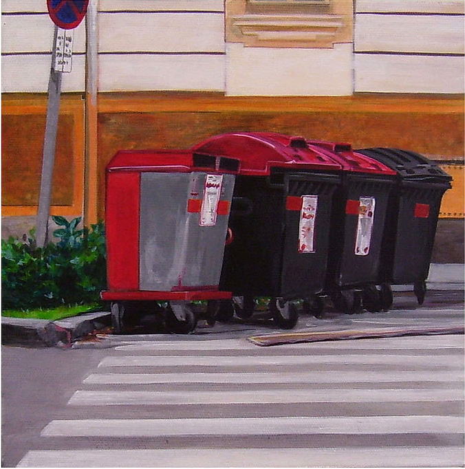 Four Bins at Crosswalk,  Acrylic on Canvas, 31cm x 31cm by Robin Clare
