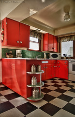 retro kitchen (D J England) Tags: red kitchen britishcolumbia victoria retro vancouverisland hdr dje surfmotel canoneos7d djengland djenglandphotography douglasjengland canonefs1585f3556