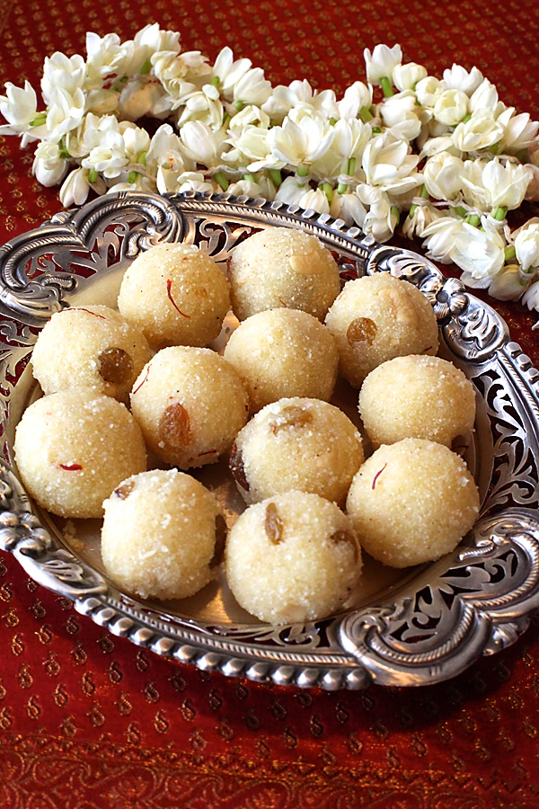 Rava Laddu/Semolina Balls With Saffron, Cashews, Raisins & Cardamom