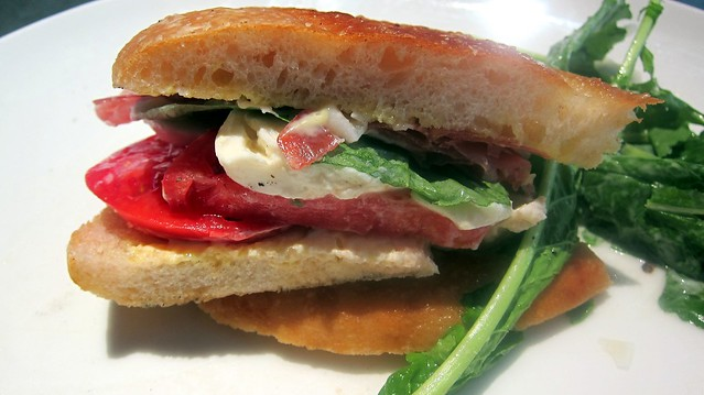 tomato, cheese, and proscuitto sandwich at no. 246