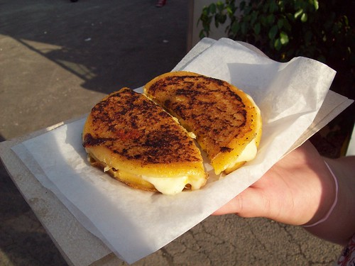 Arepas: grilled cheese on cornbread.