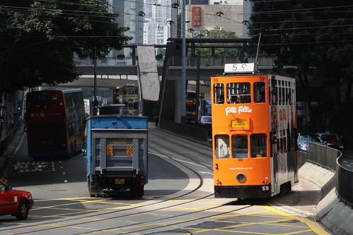 Hong Kong tram #59 catches the sun
