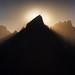 Sunset behind Grand Teton pinnacle