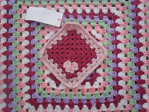 A pretty Pink Granny Square with Butterfly which I love!