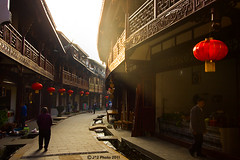 Morning Ray (J.^2) Tags: old morning red town alley ray lantern curve   taian