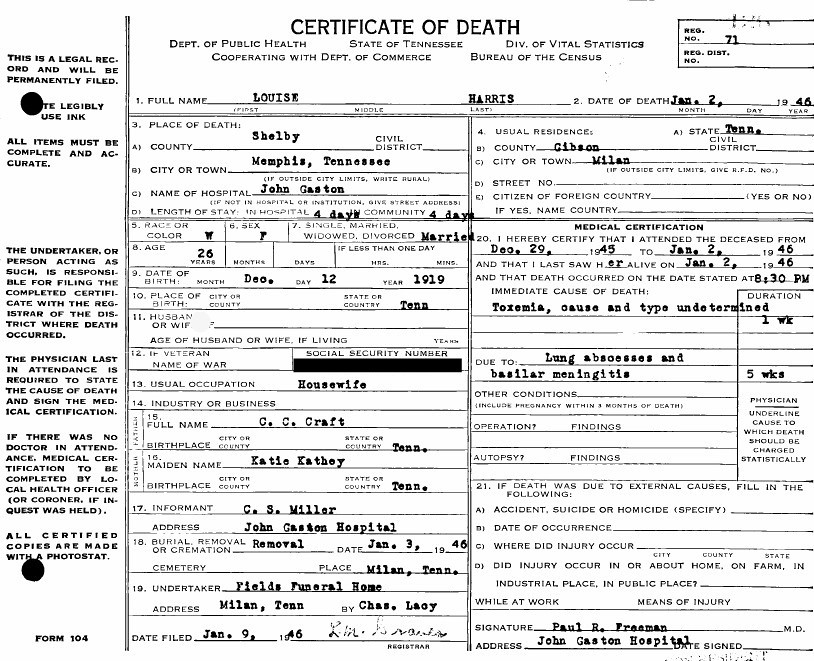 Louise Craft Death Certificate Types