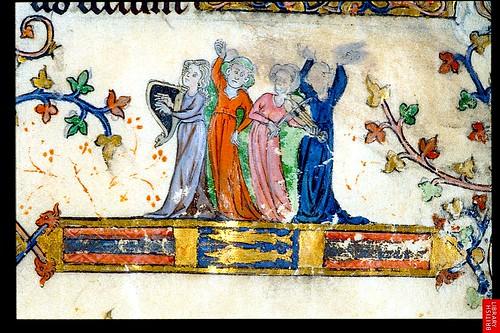 Musicians. bas-de-page. France 1302-03 YT 8. Brit Lib. by tony harrison