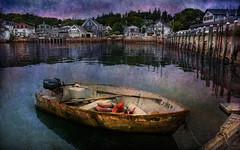 Old Boat at Dusk (D'ArcyG) Tags: ocean blue sea texture water night harbor boat fishing village dusk maine dinghy grungy stonington blinkagain