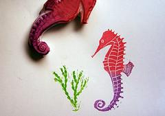 Seahorse Stamp (amelia herbertson) Tags: seaweed ink seahorse rubber carve stamp