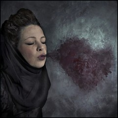 whisper of love (biancavanderwerf) Tags: selfportrait black love self dark square whisper heart smoke explore bianca liefde purper fairytail