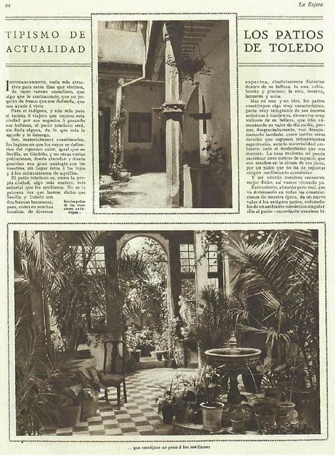 Artículo de Santiago Camarasa sobre los patios toledanos publicado el 25 de agosto de 1928 en la revista La Esfera (pág. 1)
