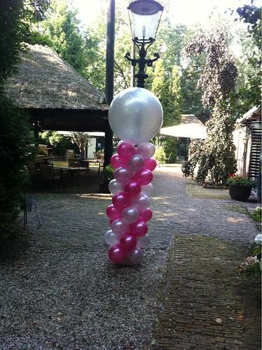 Ballonpilaar Breed Rond Fuchsia Zilver De Ridderhof Maassluis