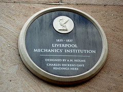 Photo of Liverpool Mechanics' Institution, A. H. Holme, and Charles Dickens black plaque