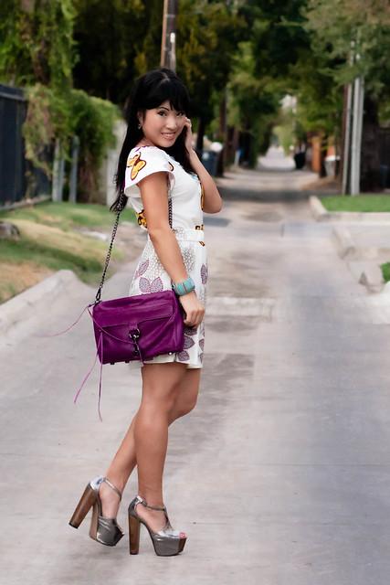 kk&co butterfly garden dress, jessica simpson dany pewter pumps, rebecca minkoff magenta mac clutch, forever 21 mint bracelet