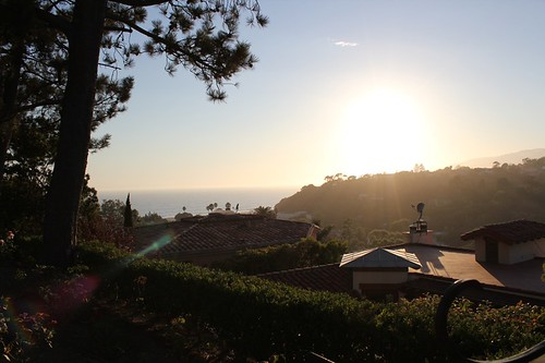 santa monica stairs at sunset - view